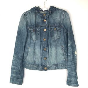 GAP 1969 distressed Jean Jacket Removable Hood - M